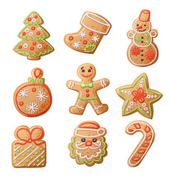 gingerbread cookies set isolated on white vector image