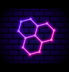 glowing neon chemical formula consisting of vector image