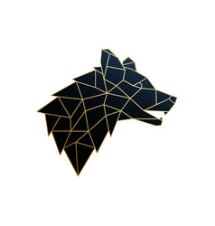 golden polygonal wolf emblem isolated vector image