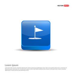 Golf flag icon - 3d blue button vector