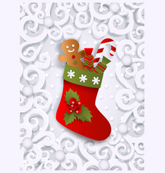 Greeting card template with christmas stocking vector