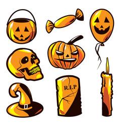 halloween object set vector image