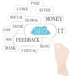 Hand and cloud of search engine optimization theme vector