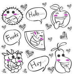 Hand draw of fruit doodles vector