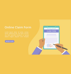 Hands with clipboard claim form web page template vector