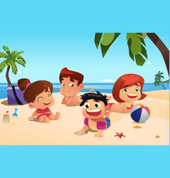 happy family having fun on the beach vector image