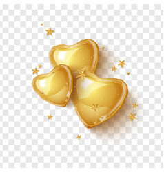 Happy valentines day greeting card with 3d gold vector