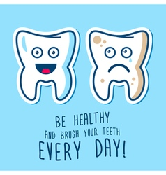 Healthy and ill teeth vector