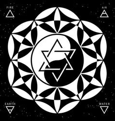 Hexagram and yin yang on flower life backround vector
