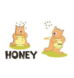 Honey in a barrel bear and aggressive bees vector