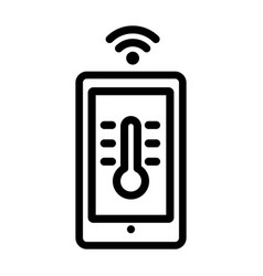 house temperature smart control icon outline vector image