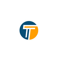 initial round t design logo vector image