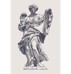 ink drawing marble statue of angel vector image
