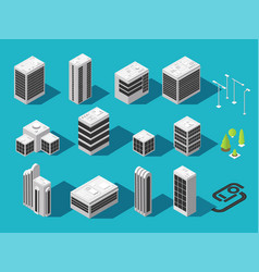 Isometric building for 3d city map set vector