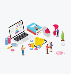 Isometric digital marketing team with business vector