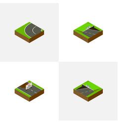 isometric way set of subway underground repairs vector image