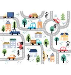 kids city map with roads and cars for children vector image