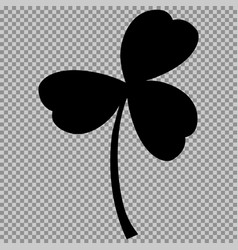Leaf clover sign black a symbol on a transparent vector