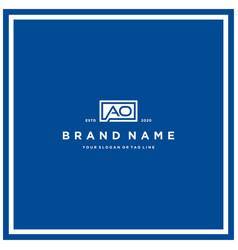 Letter ao rectangle logo design vector
