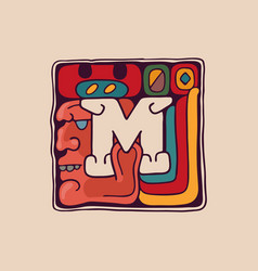 Letter m logo in aztec mayan or incas style vector