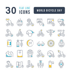 line icons world bicycle day vector image