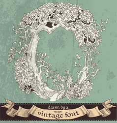 Magic grunge forest hand drawn by vintage font - O vector