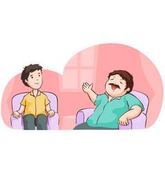 Man boasting in living room vector
