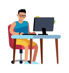 man working at home person in shorts vector image