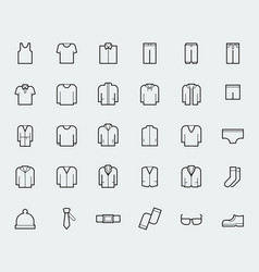Men39s clothing icons in thin line style vector