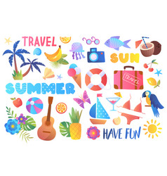 Multicolored collection summer travel icons vector