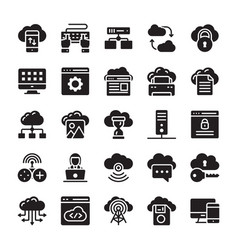 Network and cloud computing glyph icon collection vector
