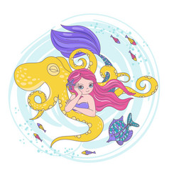 Octopus friend mermaid cartoon travel illus vector