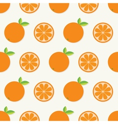 Orange fruit set with leaf in a row Cut half vector