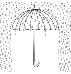 Outline cute cartoon umbrella isolated on white vector