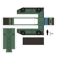 Paper model of a military tank truck vector