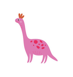 pink smiling dinosaur large cartoon dino with vector image