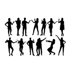 pointing people silhouettes vector image