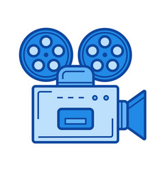 retro camera line icon vector image
