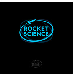 rocket science logo blue emblem vector image
