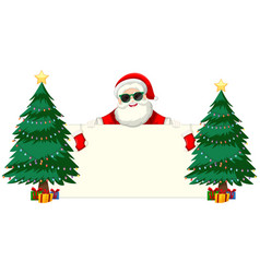 Santa with sunglasses holding blank frame vector