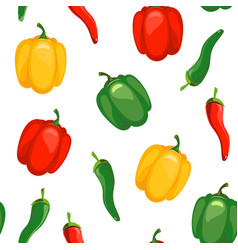 Seamless pattern with chile and sweet peppers vector