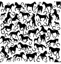seamless pattern with silhouettes horses and vector image