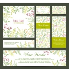 Set banners business card frame invitations vector
