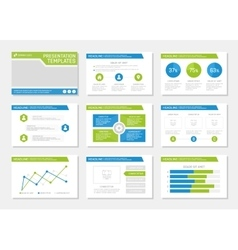 Set of blue and green template for multipurpose vector