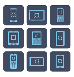 set of icons - mobile devices with currency vector image
