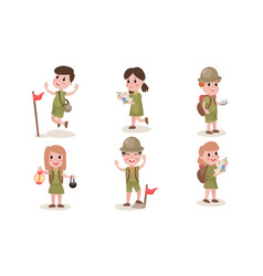 Set of six boys and girls scouts in different vector