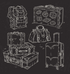 Set suitcase bag and backpack for travel drawn on vector