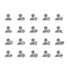 set users grey icon humans with different vector image