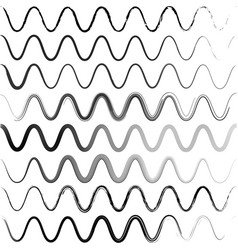 Set waves of a zigzag with rounded corners vector