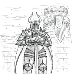 Sketch by hand medieval vector